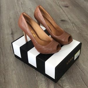 L.A.M.B. Tansy Leather Peep Toe Heels
